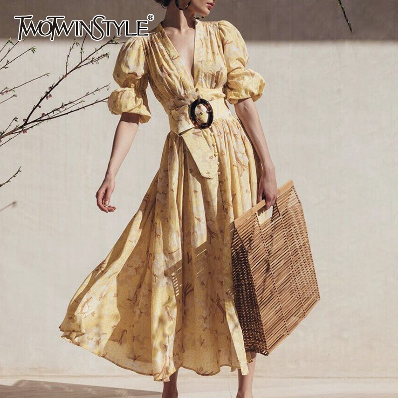 TWOTWINSTYLE Spring Casual Print Women Dress V Neck Puff Sleeve High Waist Midi Dress Female Fashion 2019 New Clothing Tide