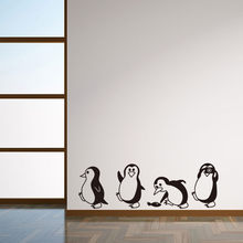 Family Wall Stickers Mural Art Home Decor DIY Removable Penguin Wall Stickers Home Decorative Decal Kids Nursery Baby Room(China)