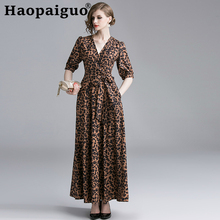 S-XXL Plus Size Print Leopard Dress Women Sashes Corset Loose Casual Vintage Long Summer Sleeve 2019 Robe