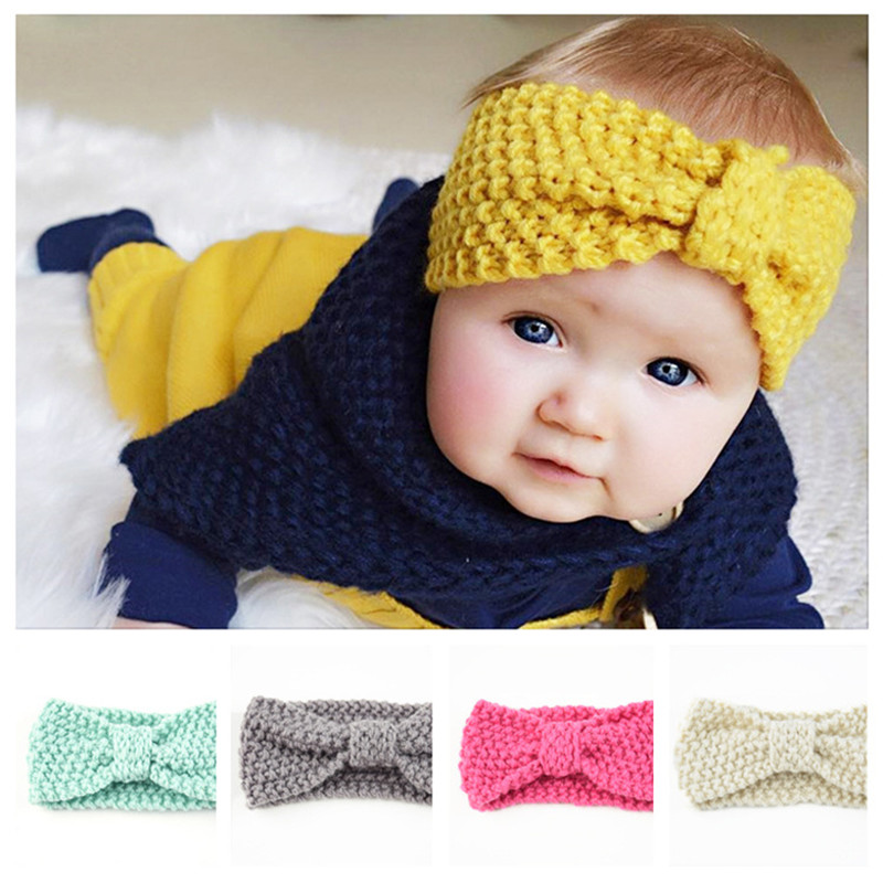 New Hot Children Bowknot Hairband Winter Baby Knitted   Headwear   Baby Wool Protection Headgear Hair Accessories Free Shipping