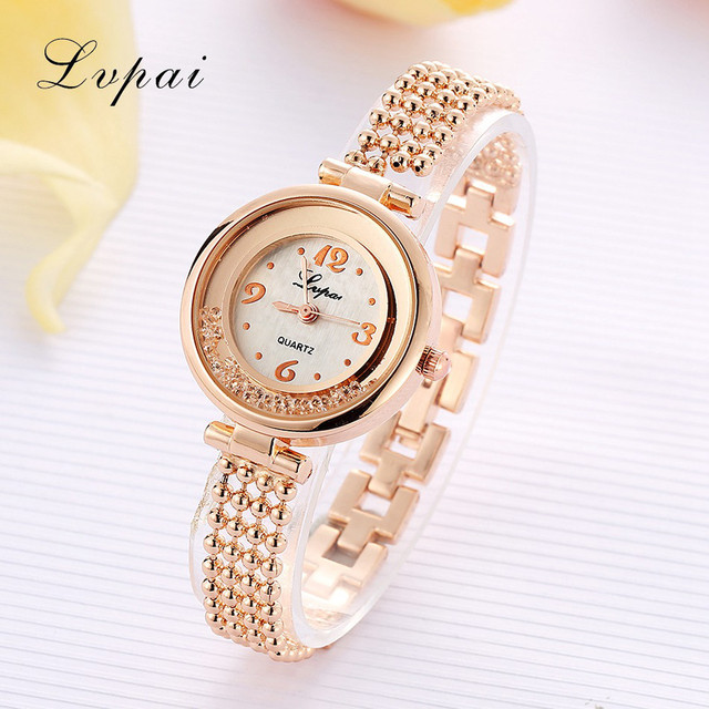 LVPAI Women Fashion Watches Elegant Lady Stainless Steel Bracelet Wrist Watch Cl