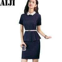 2018 Fashion Women Patchwork One Piece Dress Work Wear Spring Summer Belt Short Sleeve Outfit Slim