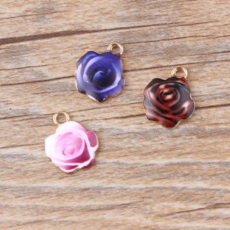 100pcs 13*16mm rose charms Diy Jewelry alloy gold color enamel print pattern red blue coffee flower charms pendant CH0216