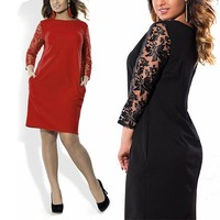 Women Elegant Sexy Lace Dress Retro Floral Translucent O Neck Office Dress Casual Plus Size 4XL