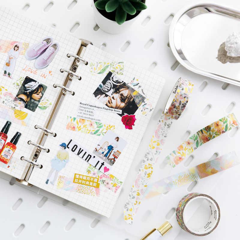 Cinta de Cinta adhesiva Washi decorativa con láser dorado de unicornio con flores de cielo estrellado, cinta adhesiva DIY para álbum de recortes, cinta adhesiva