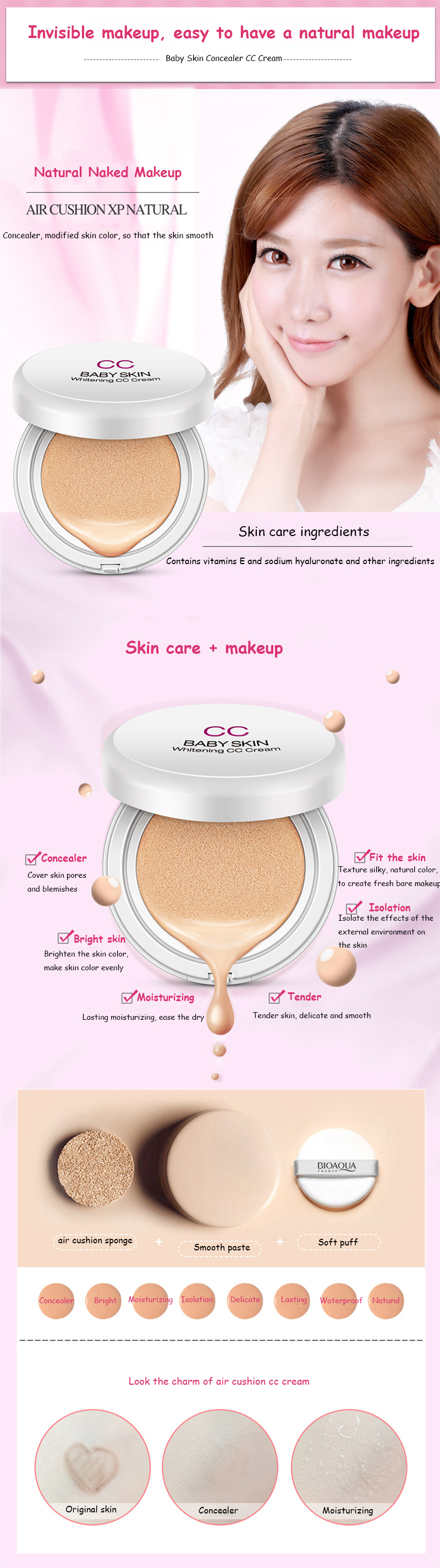 Bioaqua Brand Air Cushion Makeup Bb Cc Cream Whitening Moisturizer Bio Aqua Aircusion Getsubject Aeproduct