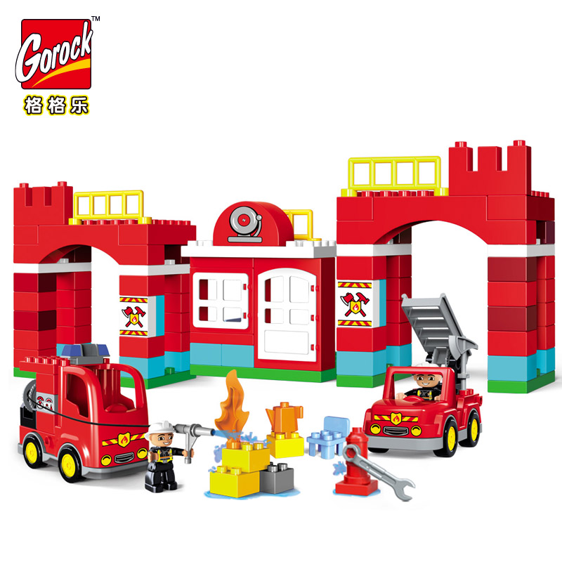 GOROCK 109pcs Big Blocks City Fire department Firemen Building Blocks set Kids DIY Bricks Creative Toys Compatible With Duploe gorock 109pcs big blocks city fire department firemen building blocks set kids diy bricks creative toys compatible with duploe
