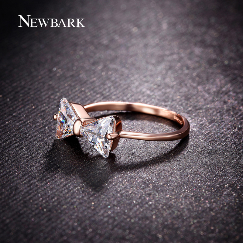 NEWBARK New Cute Butterfly Bowknot Rings For Women With AAA CZ Rose Gold Color Rings Fashion Jewelry Best Gifts
