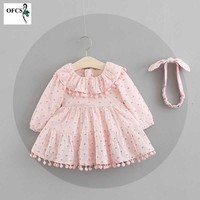 Long Sleeve Baby Girls Dress For Girl Christmas Birthday 1 2 3 Year Newborn Toddler Printing Dresses Kids Casual Clothes Band