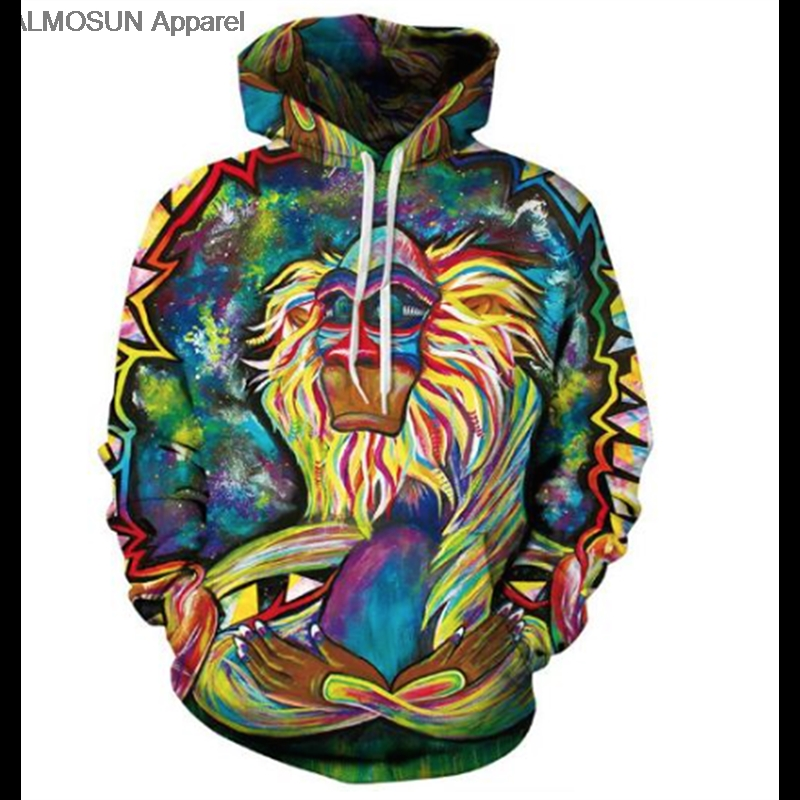 Men's Clothing Helpful Almosun Paniting Monkey 3d All Over Printed Hoodies Pockets Sweatshirt Hipster Hip Hop Casual Streetwear Men Women To Win A High Admiration And Is Widely Trusted At Home And Abroad.