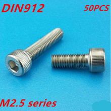 free shipping 50pcs/lot DIN912 M2.5*4/5/6/8/10/12/14/16/18/20/25/30 Stainless Steel 304 Hexagon Hex Socket Head Cap Screw