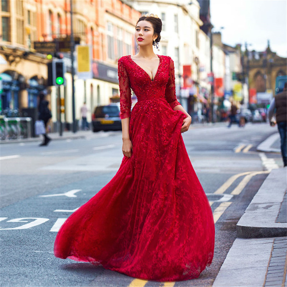 0ef1685b4b47 Beautiful 2017 Red Hot long Sleeve Evening Dresses Lace Beads V neck design  Evening Gown with Crystals les robes de soiree