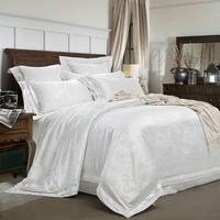 4/6Pc Golden White Color Stain Luxury Bedding set Royal Bed set Silk Cotton Duvet cover Bed sheet set pillowcase38