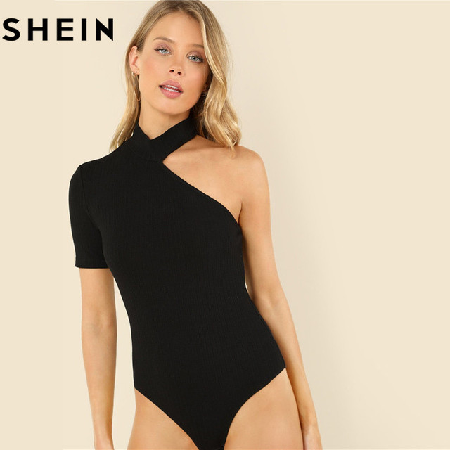 SHEIN Black Sexy Skinny Mid Waist Ribbed Knit Woman Bodysuits 2018 Summer  New Stand Collar Asymmetrical c109e5489
