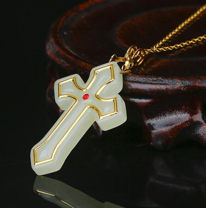 Top Quality Cross Jesus Jade Pendants For Male Female Good Luck Necklace Hot Sales Jewelry