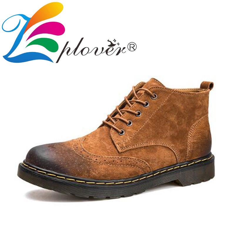 Autumn Winter Men Boots Genuine Leather Shoes Men Ankle Boots Fashion Footwear Vintage Brogue Shoes Men Plus Size Warm Men Shoes autumn winter men shoes vintage design fashion genuine leather ankle boots