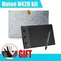 H420 Huion 420 dibujo tableta gráfica w / Digital Pen 10 pulgadas revestimiento de lana + dos dedos antiincrustantes guante como regalo P0019297