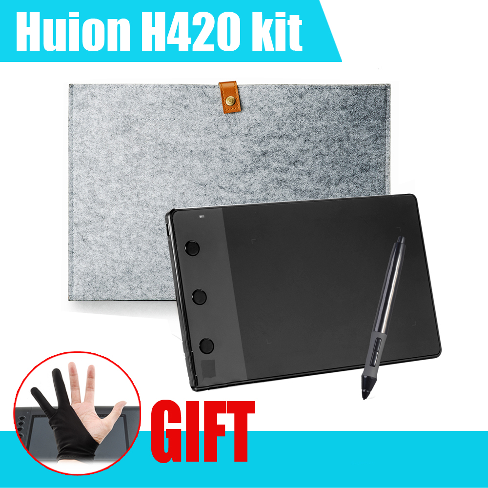 Huion H420 420 Graphic Drawing Tablet w Digital Pen 10 Inches Wool Liner Bag Two Fingers