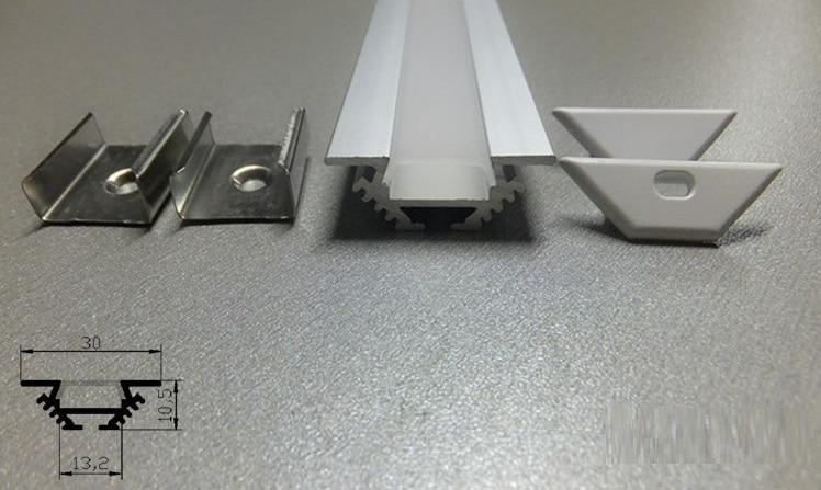 گوشه گوشه ای زاویه دار آلومینیومی آنودایز مسکن در نوارهای چراغ نوار LED با درپوش اوپال و براکت نصب