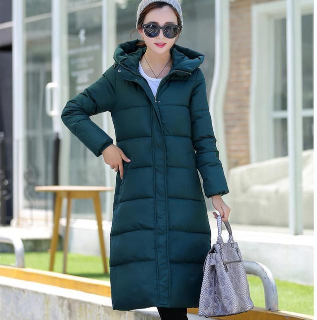 2016 Новая коллекция весна зима дизайн длинном пальто женщин хлопка-ватник плюс размер конфеты цвет Куртки и Пальто зеленый черный красный