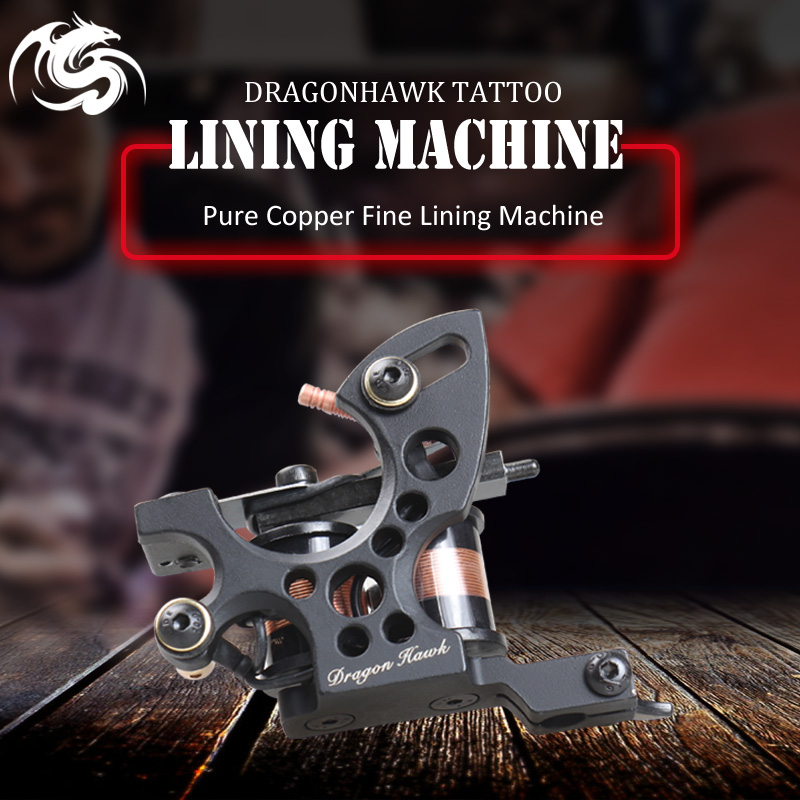 Terbaru Dragonhawk Fine Lining Tattoo Machine Iron 8 Bungkus Coils Tattoo Guns Tattoo Supply