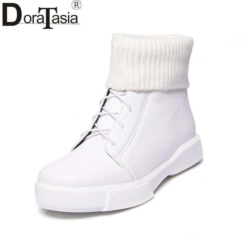 DoraTasia On Sale Plus Size 34-43 Leisure Preppy Chic Ankle Boots Women Fashion Comfort Women Shoes Black White Casual Footwear парта rifforma comfort 34