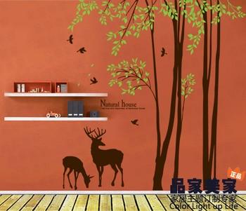 Завод дерево настенные Новый Лесной дизайн Стикеры дерево олень птица настенные Стикеры высокое качество зал дома мягкими Стикеры s вход