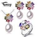 FENASY natural Color de la perla flor de la joyería para las mujeres perla fija 925 joyas de plata de la boda caja de regalo de cumpleaños de la muchacha