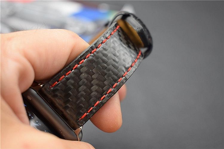For Apple Seires 4 Watch Rem ægte kulfiber læderbånd til Apple - Tilbehør til ure - Foto 6