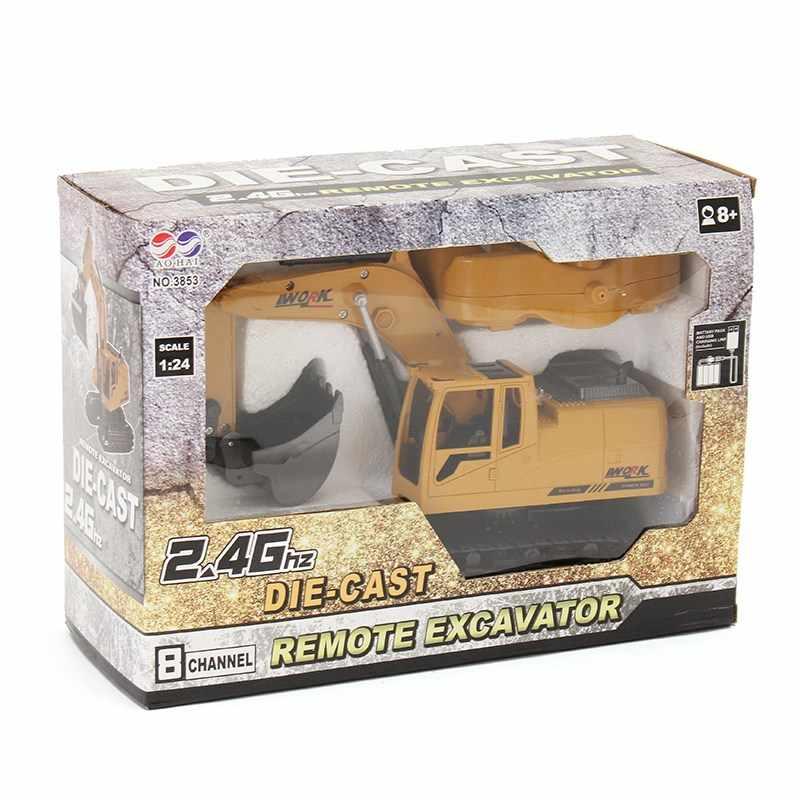 חדש הגעה AO HAI 1/24 2.4 Ghz 8CH למות יצוק מרחוק חופר מהנדס משאית רכב צעצועי מתנת הווה