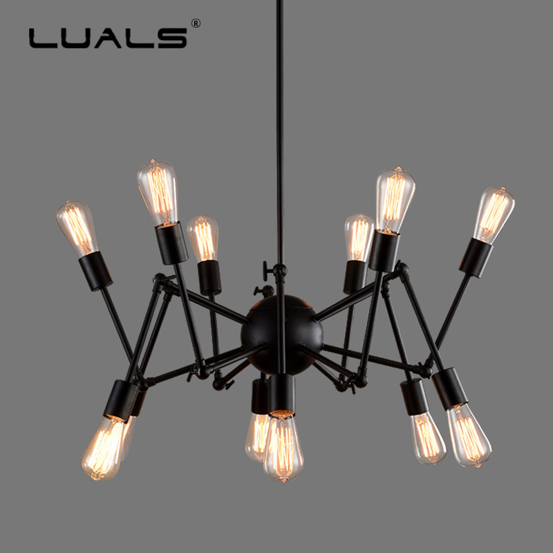 Loft Chandeliers Iron Hanging Lamp Scalable Edison Lamps Modern LED Chandelier Art Deco Lighting Chandelier In The Living Room nordic vintage chandelier lamp pendant lamps e27 e26 edison creative loft art decorative chandelier light chandeliers ceiling
