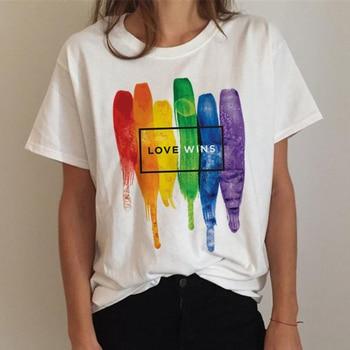 Lgbt T Shirt Women Gay Pride Shirt Lesbian Rainbow T-shirt Harajuku Ullzang Funny Tshirt 90s Graphic Love Is Love Top Tee Female 12