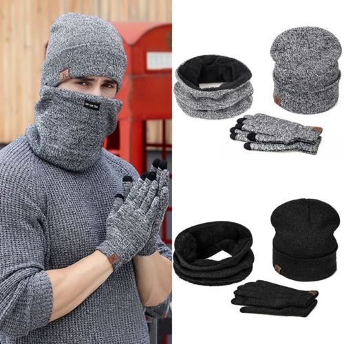 Scarf Hat Glove Sets 2018 New Brand New Men Women Warm Winter Knit Ski Beanie Skull Slouchy Oversize Cap Hat Unisex
