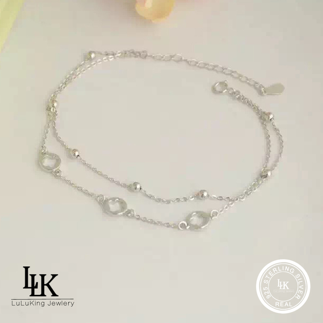 33c54edf1f6 2016 Fashion Charm Jewelry Pure 925 Sterling Silver Anklets For Women  Double Chain Luck Clover Real