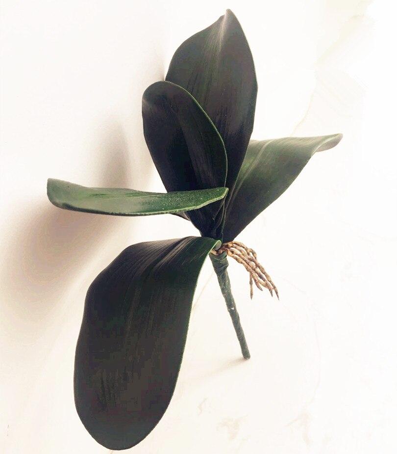 6tk võlts orhidee lehed kobaras kunstlik 5 lehed rohelus 28cm - Pühad ja peod - Foto 2