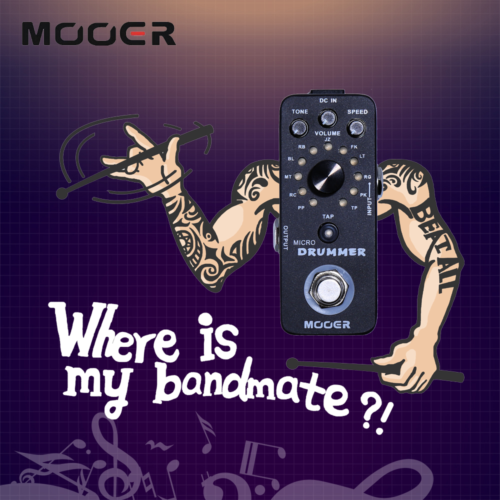 Mooer Micro Drummer Guitar Effect Pedal With 121 Drumbeats Digital Automatic Drum Machine Guitarra Accessory nux mg 20 electric guitar multi effects pedal guitarra modeling processor with drum machine eu plug