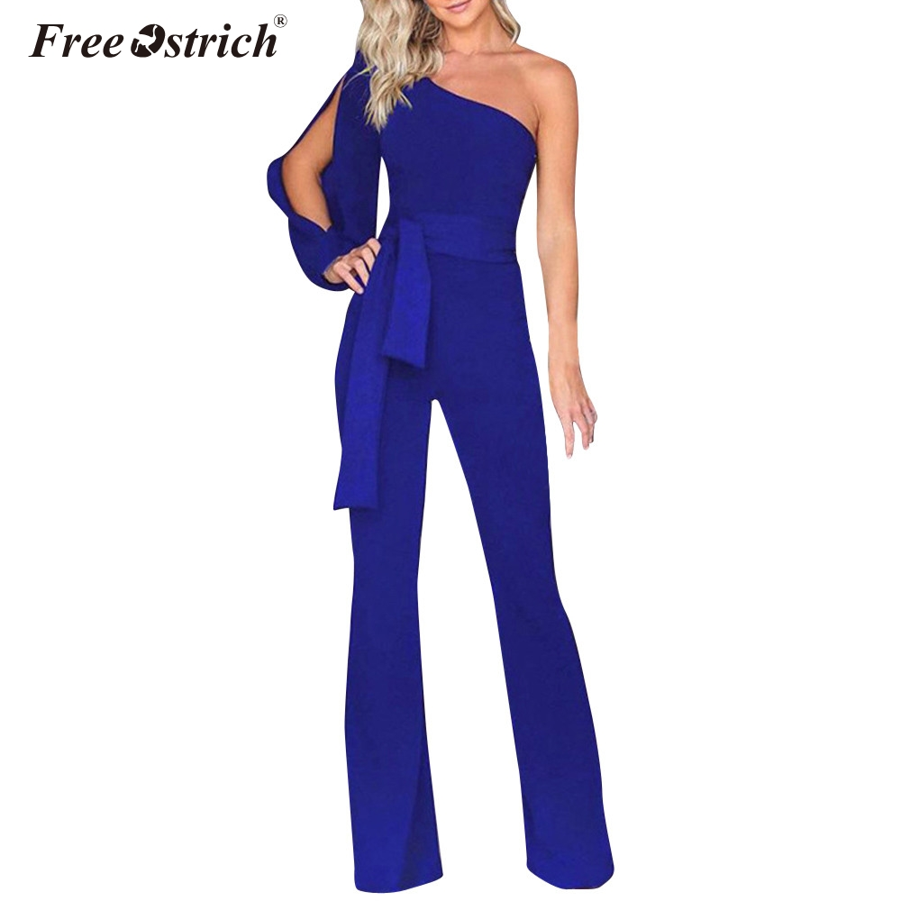 Free Ostrich Summer   Jumpsuits   for Women 2019 Fashion Black Elegant White Wide Leg Pants   Jumpsuit   Clubwear N30