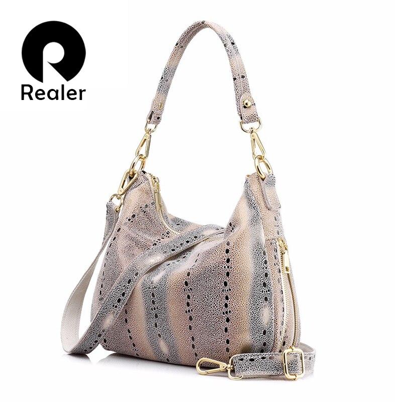 REALER hobos fashion women genuine leather handbag female pearl fish prints shoulder bag new design hobos bag messenger bags