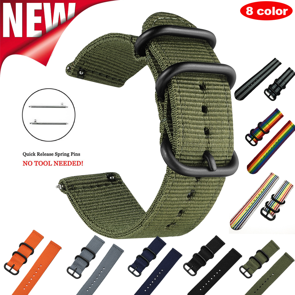 Band For Galaxy Gear S3 S2 Classic Woven Nylon Watch Sport Strap Quick Release Bands Amazfit 18mm 24mm 22mm 20mm Universal Band