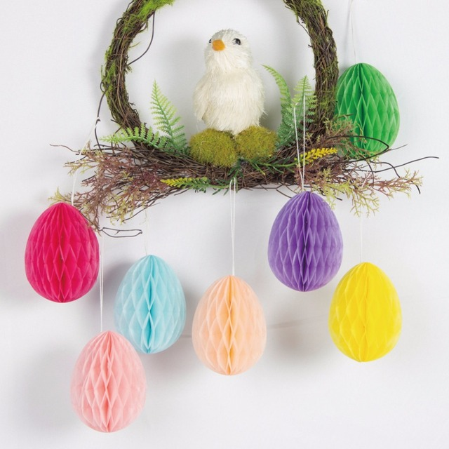 Sunbeauty 7 Pieces/set Easter Decorations For Windows Colorful Egg  Honeycomb Balls For Easter Party