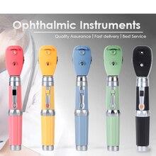 Многоцветный СВЕТОДИОДНЫЙ профессиональный медицинский офтальмоскоп, 5 различных отверстий, комплект для диагностики глаз, портативный прямой офтальмоскоп
