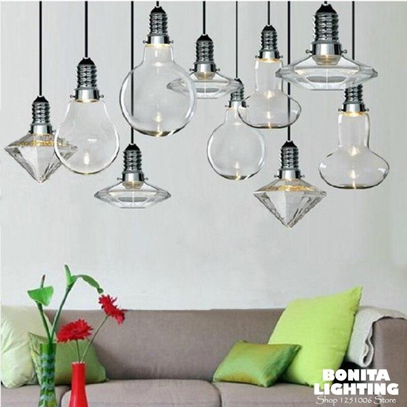 Lampe suspendue cordon éclairage maison moderne cristal verre Diamon moderne lampe suspendue led G4 grande ampoule pendentif éclairage verre abat-jour
