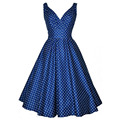 2016 Womens Sexy Double V Neck Backless Polka Dots 1950s 60s Vintage Retro Style Rockabilly Swing Summer Casual Party Dresses