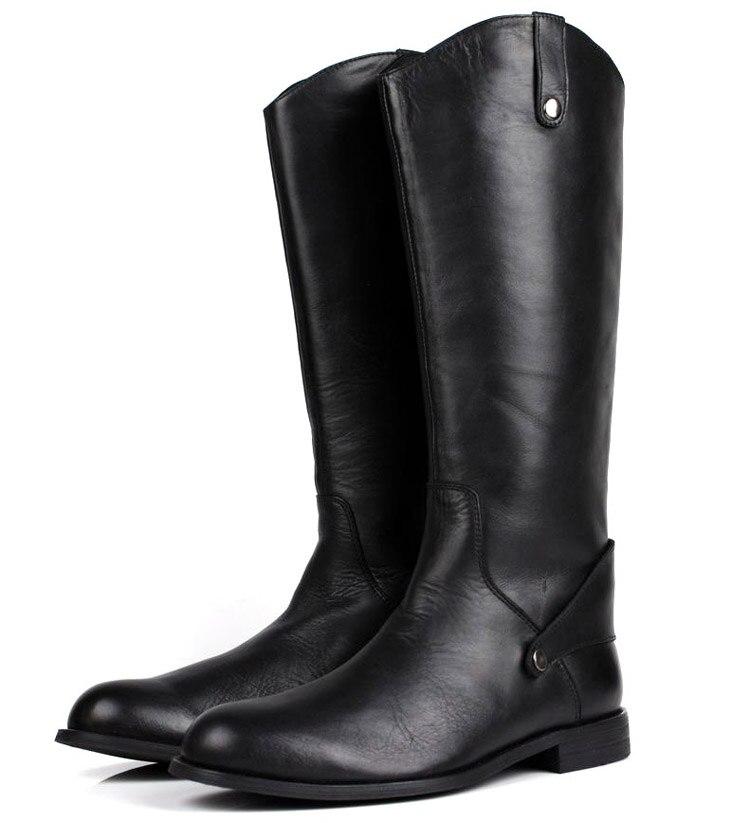 Большой размер EUR45 черный колено высокие мужские ботинки натуральная кожа сапоги для верховой езды мужские мотоциклетные ботинки мужские з
