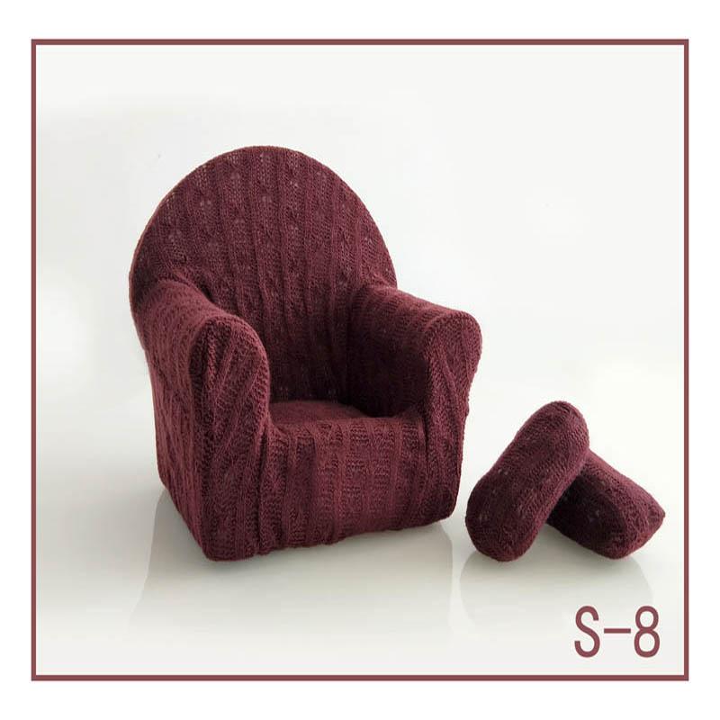 Реквизит для фотосъемки новорожденных, позирующий мини-диван, кресло на руку и 2 подушки, реквизит для фотосессии, студийные аксессуары для детей 0-3 месяцев - Цвет: 23