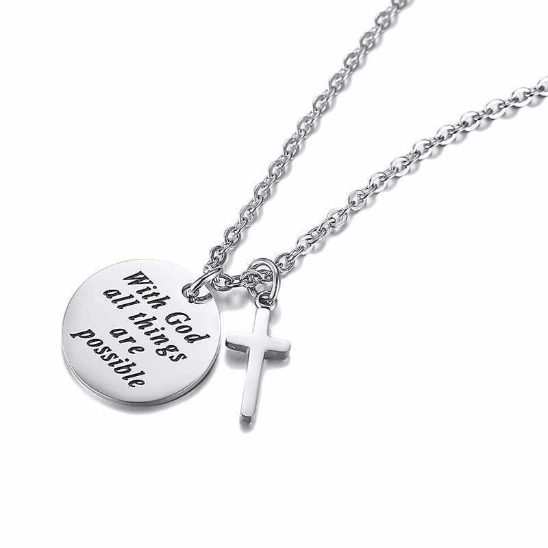 Inspirational Cross Kalung Stainless Steel Warna Perak Koin Kecil Lingkaran Terukir Allah Semua Hal Yang Mungkin Wanita Liontin
