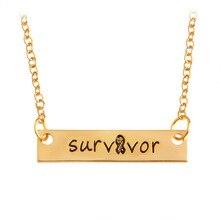 2017 Simple Charm Rectangular Strip Fashion Creative Gold/Silver Alloy Necklace Survivor Pendant Necklace For Women Gift
