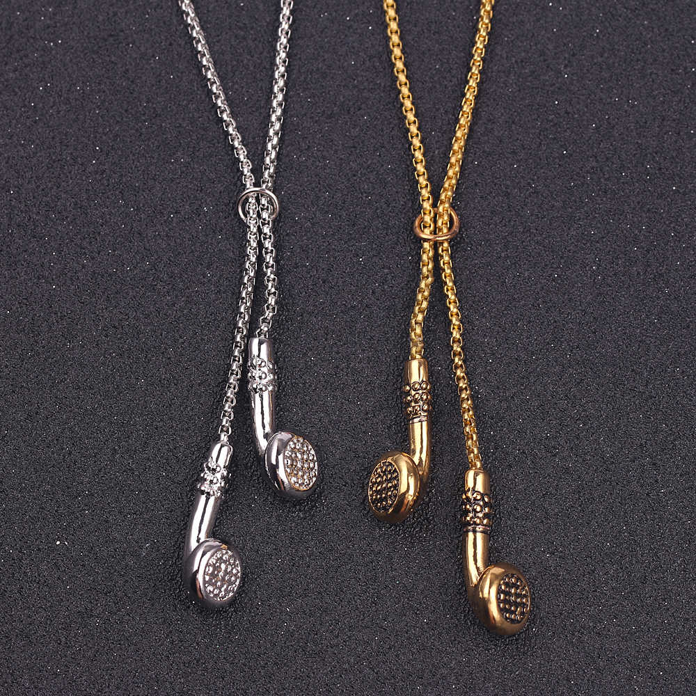 Fashion Jewelry Men Necklace Hip Hop Music Headphone Pendant Necklaces Cool Gifts Mens Long Chain gold silver color kolye