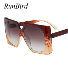 RunBird Brand Design 2018 Luxury Square Oversized Sunglasses Women Ladies Big Sun Glasses Female Vintage Eyewear UV400 1248R