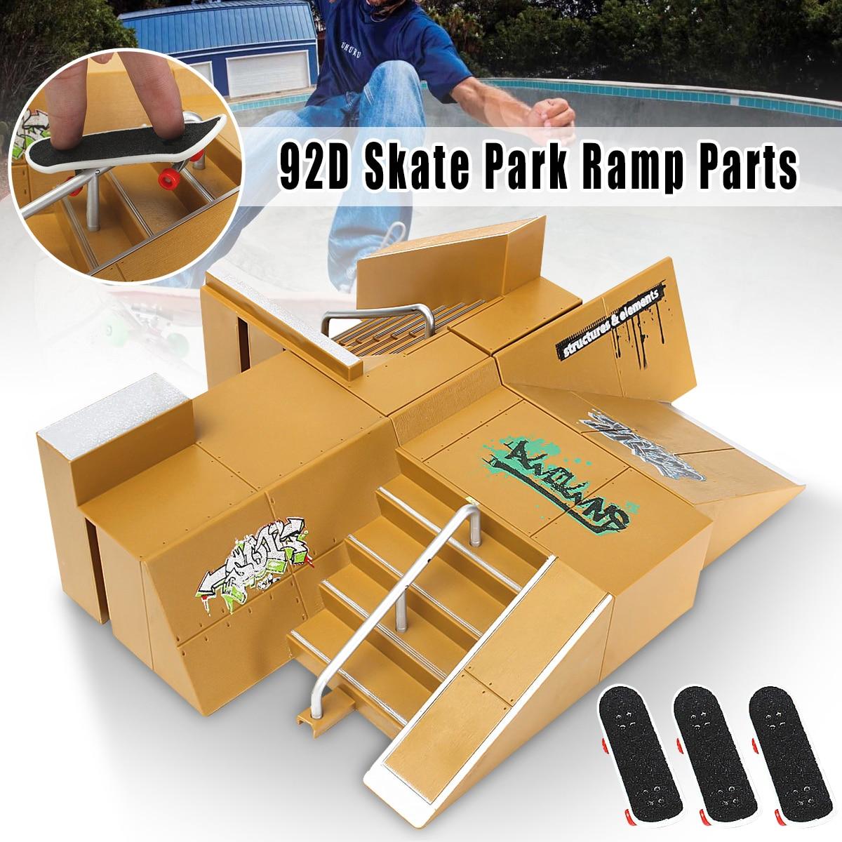 92D Skate Parc Kit Rampe Pièces Pour Tech Deck Touche Excellent Cadeau Pour Les Amateurs De Sports Extrêmes Sport Formation